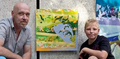 Kinderporträts auf der Garage